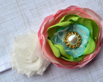 Pink blue green and white flower headband, m2m matilda jane, toddler headband, infant headband, girl headband, pink headband, baby headband