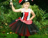 Red and Black Pirate Inspired Handmade Tutu Dress  Birthday Party Photo Prop Pageant