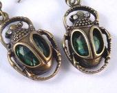 Green Scarab Dangle Earrings