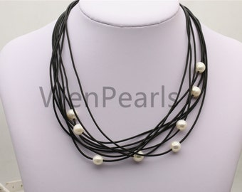 Floating pearl and leather Necklace, Pearl and Leather Necklace ,Multi-Strand  Pearls necklace ,Pearl and Leather,Le4-017