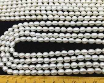 6-7mmx7-8mm,2A, white rice pearls-16 inch strand, around 53pcs,rice pearl,Full Strand,Freshwater Pearl Rice Beads,LR6-2A-2
