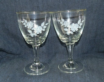 Two 1960's Stemmed Wine Glasses with White and Grey Floral Design