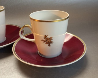 2 Lichte East German Vintage Demitasse Coffee Cups and Saucers Porcelain Espresso