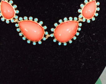 Kenneth Lane Faux Coral and Turquoise Necklace