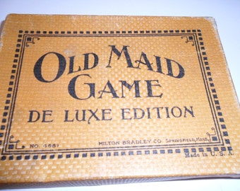 Old Maid Game:  vintage card game in original box