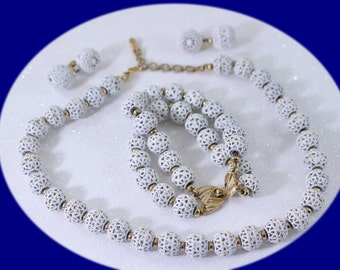 Vintage Jewelry Set Monet Necklace Bracelet And Earrings  White Beads Vintage  Jewelry