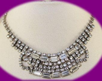 Vintage Crystal Statement Necklace Bib Rhinestone Collar Necklace Glass Rhinestone Necklace Bridal Necklace