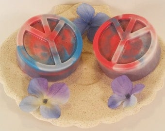 Peace sign soap, patriot soap, glycerin soap, peace soap, red soap, blue soap, white soap, soldier soap, gift soap, military soap,