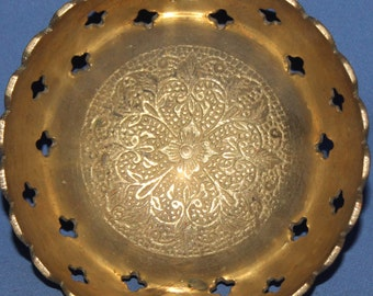 Small Floral Brass Pedestal Bowl