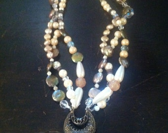 Upcycled Crystal Pendant Necklace