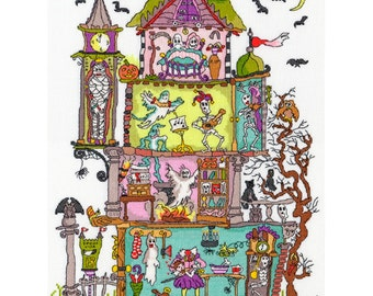 Bothy Threads Cut Thru Haunted House Counted Cross Stitch Kit - 26cm x 35cm