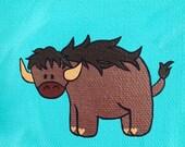 "Buffalo 4""x4"" acrylic metallic painting on canvas, African animal over aqua green"