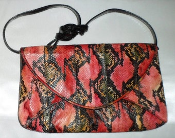 Vintage 1970's Dramatic Colored Snakeskin J. Renee' Purse Handbag Clutch