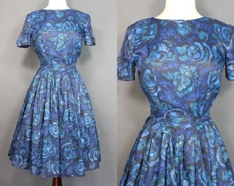 60's Midnight Blue Abstract Print Day Dress