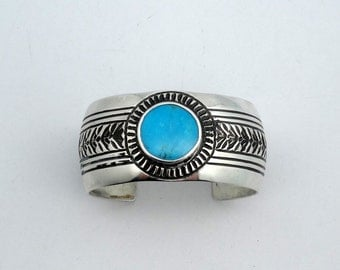 """Vintage Signed """"WB"""" Sterling Silver Southwest Native American Turquoise Cuff Bracelet"""