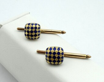 Unique Vintage Signed La Triomphe 18K Yellow Gold and Blue Enamel Spring Cuff Links
