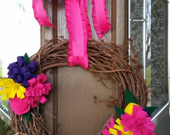 Grapevine Felt Flower Wreath.  Spring Wreath.  Easter Wreath.  Handmade