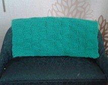 Dollshouse knitted blanket, miniature shawl, dollhouse afghan, sofa throw, green miniature knitting,  knitting in one inch scale,