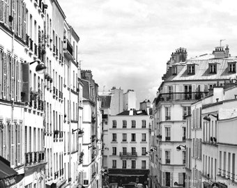 Paris Photo, Large Wall Art, Photography Print, Paris Rooftops, Montmartre, Black White Print Bedroom Art French Decor Horizontal Room Decor