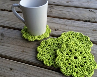 Flower Crochet Coaster Set | 4pc Assorted Colors