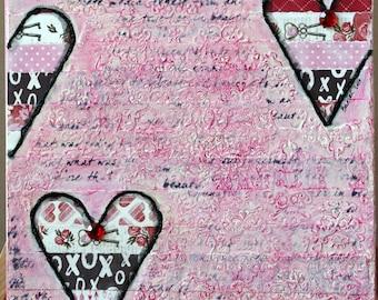 Mixed Media, 10 x 10 Canvas, Hearts Mixed Media Original Canvas, Mixed Media Canvas, Love Mixed Media Original Canvas