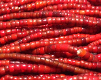"26"" Strand of Vintage Red Venetian White Heart Trade Beads, 3-4mm x 2-3mm"