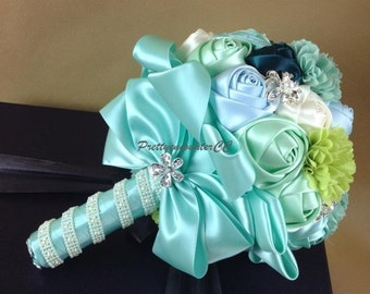 Blue Wedding Bouquet Wedding Flowers Silk Handmade Flowers Bridal Bouquet Bridesmaid Bouquet with Satin Ribbons crystals pearls jewels