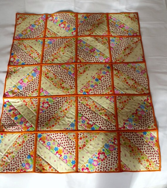 """patchwork quilt, quilted throw, double sided duvet, cot quilt, lemon and orange, baby play mat, aprox 38"""" x 47"""""""
