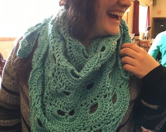 Teal sea-foam lace scarf & Shawl