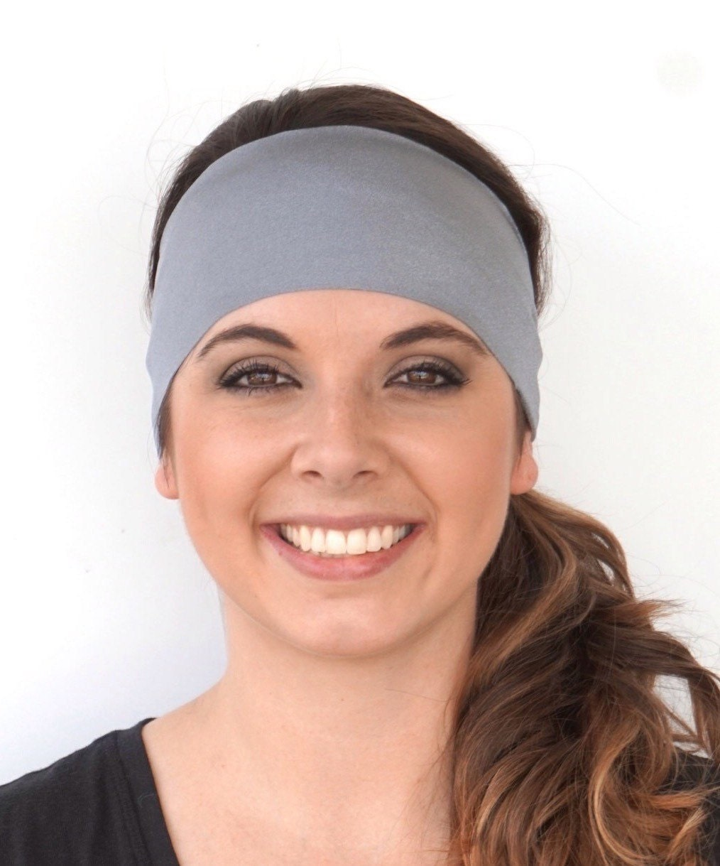 hair styles with headbands shiny gray solid fitness headband headband fashion 6421