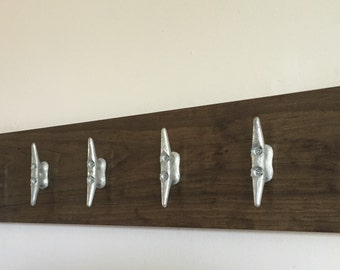 Nautical coat rack with cleats