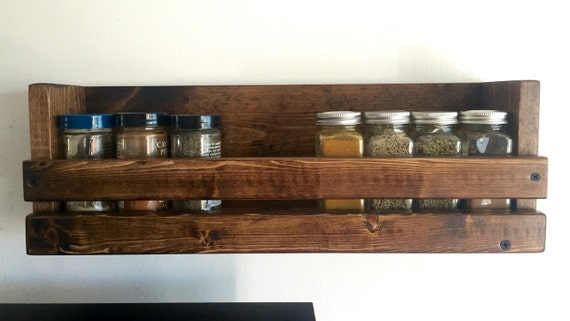 items similar to kitchen wall mounted spice rack one shelf spice organizer rustic spice rack. Black Bedroom Furniture Sets. Home Design Ideas