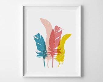 Playroom Art Print, Nursery Decor, Feather Print, Nursery Wall Art, Illustration Print, Kids Room Decor, Digital download Print, Nursery art