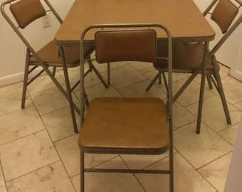 Vintage Metal Folding Table Etsy