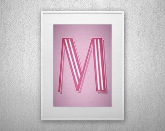 Typography Art Print - M - Letter poster - Printable - Wall Art