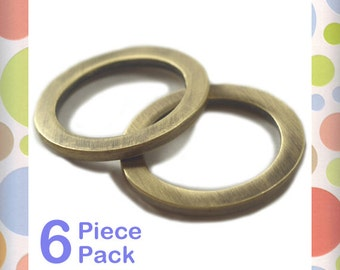 1 Inch Flat Cast O Rings, Antique Brass - Bronze Finish, 6 Pieces, Handbag Purse Bag Making Hardware Supplies, 1""