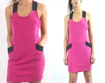 Pink mini DRESS Bodycon Wiggle dress with pockets, 80s 90s Club dress, Bandage dress, Racerback dress, elastic straps