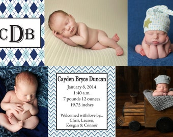 Baby Boy Birth Annoucement with Blue Argyle and Chevron Pattern