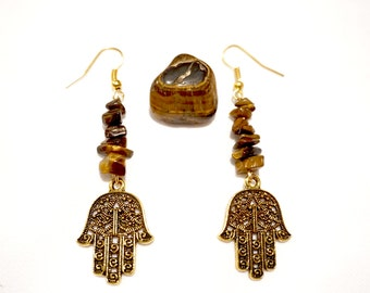 Tigers Eye Hamsa Earrings, Tigers Eye Earrings, Hamsa Earrings, Healing Stone Earrings, Protection Jewelry