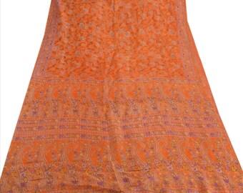 KK Pure Silk Saree Orange Printed Sari Cultural Craft Fabric
