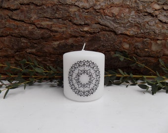 SALE**Small hand printed candle.Personalized candle.Mandala candle.White candle.Home decor.Eastern Sapphire.bespoke.pretty candles.
