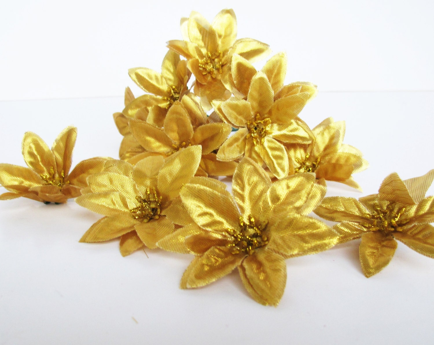 Lot of 80 Mini Gold Color Poinsettias Artificial Flowers