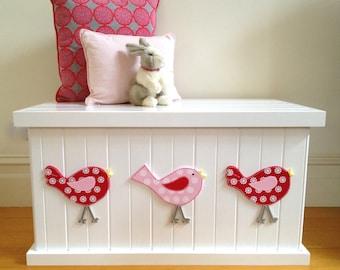 Toy Box - Bird Cherry Red/Pink, Girls Toy Box, Toy Chest, Toy Storage, Toybox, Wooden Box, Child's Toy Chest, Childrens Furniture, Storage