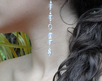 Long Dangle Earrings in Faceted Clear Zirconia and Sterling Silver (925)