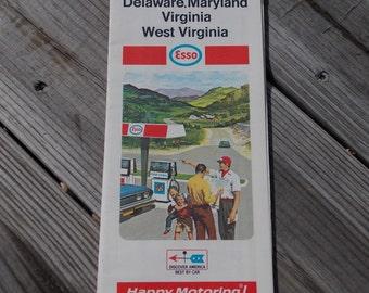 Vintage Esso station road map Delaware Maryland Virginia West Virginia