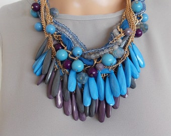 Chunky Blue Beaded Multi-Row Statement Necklace