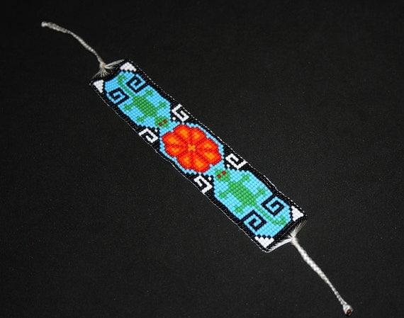 Huichol Bracelet, Gecko Bracelet, Lizard Bracelet, Native American Beaded Bracelet, Peyote, Hippie Bracelet, Huichol Beadwork, Mexican Cuff