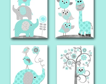 Baby Boy Nursery Wall Decor Elephant Wall Decor Giraffe Wall Decor Digital Print Instant Download Art Kids Room Decor set of 4 8x10 11X14