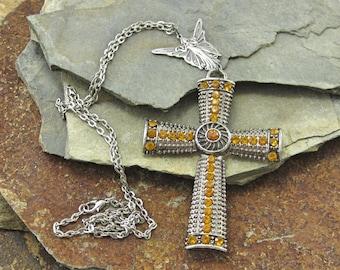Citrine Cross  Rhinestone Pendant Necklace Cross Necklace Silver Cross Religious Necklace Religious Jewelry Celtic Crucifix Metal Cross