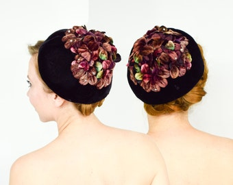 50s Black Velvet Flower Hat | Maroon Purple Flowers & Rhinestones